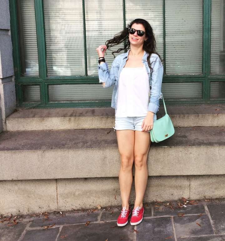 double denim with shorts and shirt