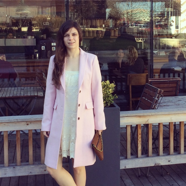 brunch outfit with pink coat