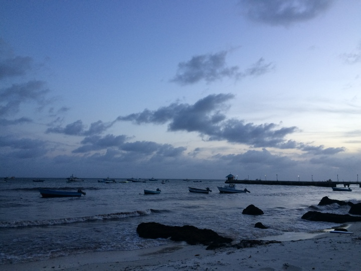 beach at sunset at fish fry in Barbados