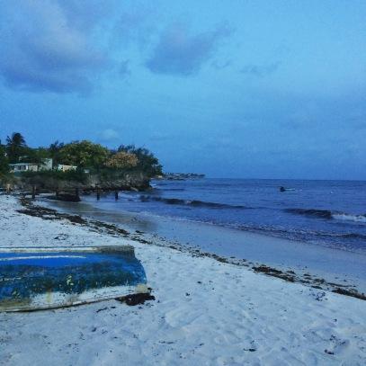 beach at fish fry in Barbados