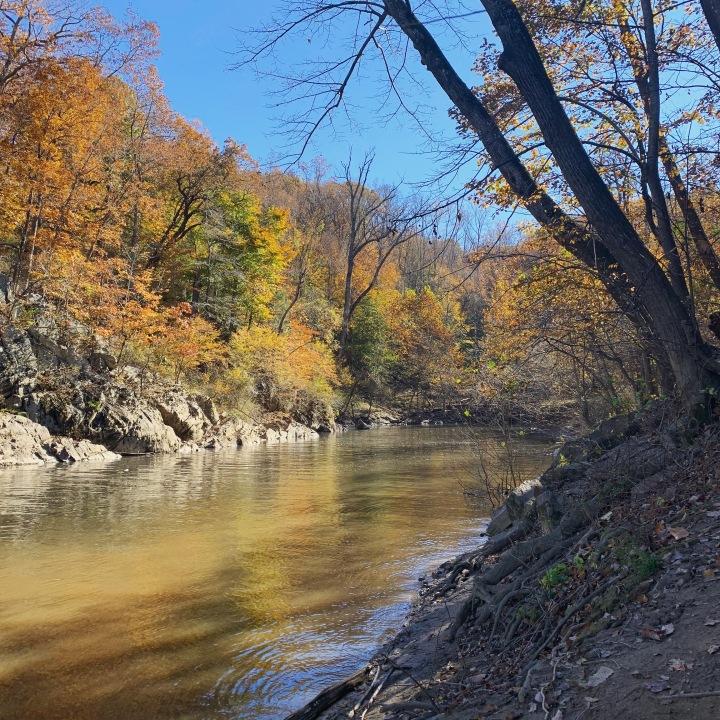 hiking near the river at Great Falls