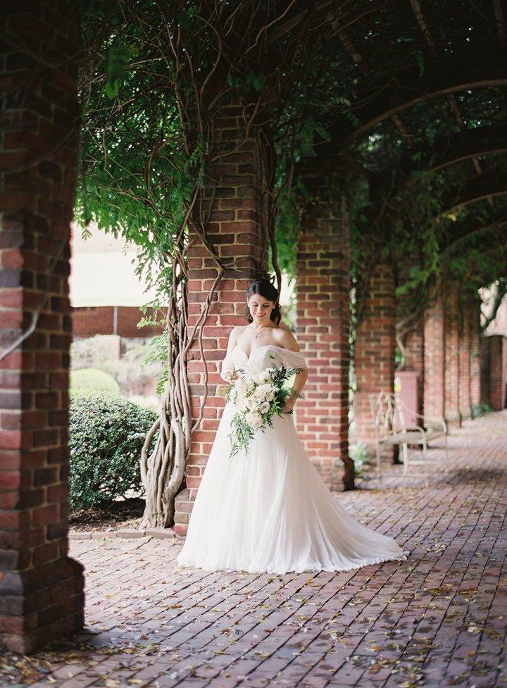 Wisteria arch bridal portrait