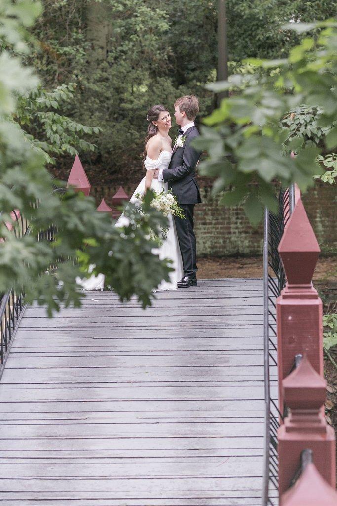 Crim Dell Bridge close-up wedding photo
