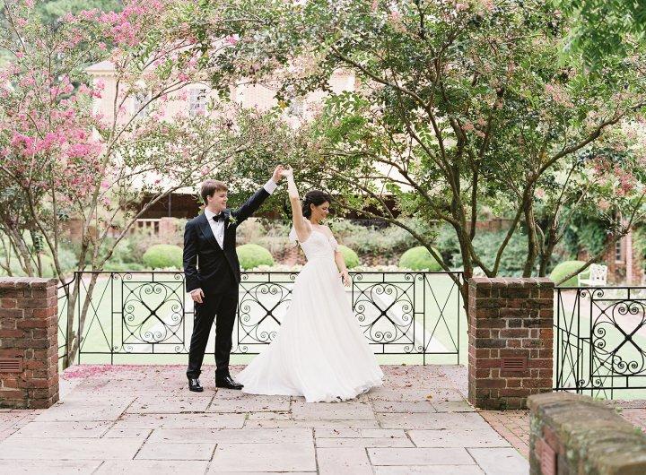 Fountain garden wedding photo